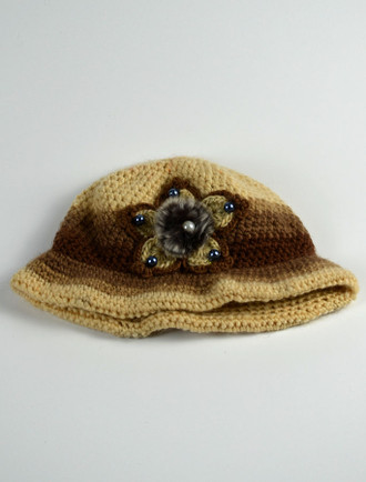 Ladies' Fleece Lined Two-Tone Knitted Hat with Decoration