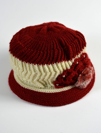 Ladies' Fleece Lined Hard Rim Knit Hat with Decoration