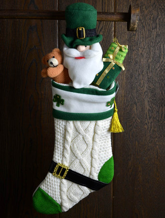 Aran Wool Irish Themed Christmas Stocking