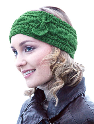 Women's Aran Cable Stitch Headband - Kiwi