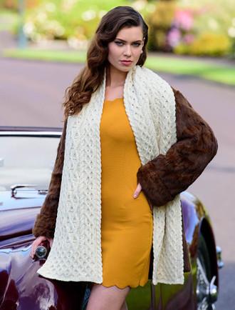 Women's Luxury Aran Honeycomb Scarf