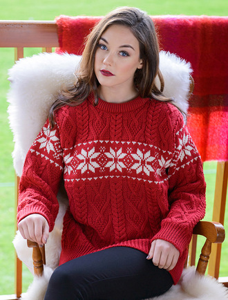 Women's Winter Fair Isle Crew Neck Aran