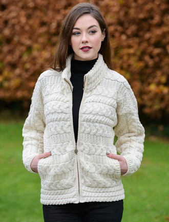 Zip Cable Aran Cardigan