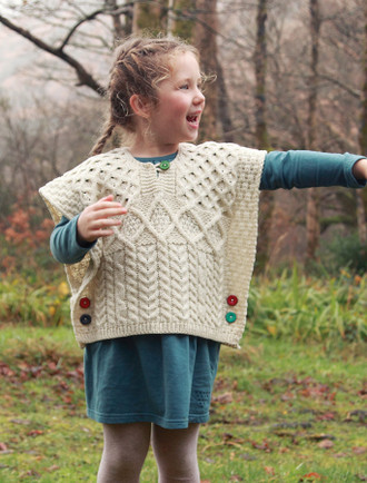 Kids Aran Poncho with Color Buttons