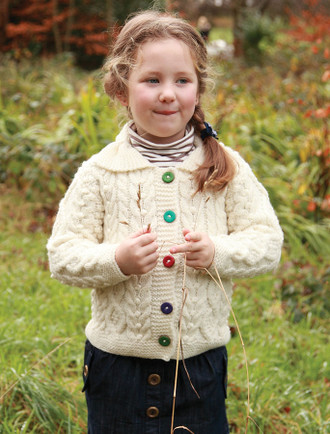 Kids Aran Cardigan with Color Buttons