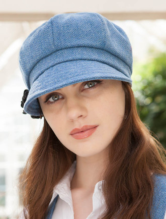 Ladies Tweed Newsboy Hat - Sky Blue