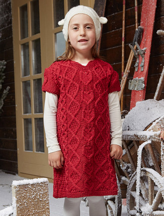 Kid's Cap Sleeve Aran Wool Dress