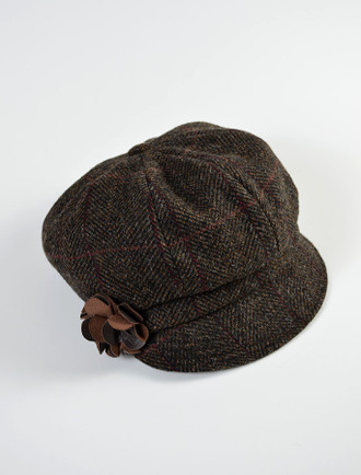 Ladies Newsboy Hat - Brown with Red