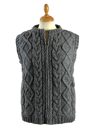 Premium Handknit Fleece Lined Vest - Grey
