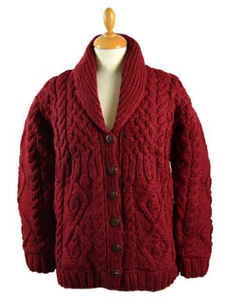 Premium Handknit Fleece Lined Buttoned Cardigan - Wine