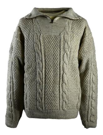 Premium Handknit Zip Neck Sweater - Oatmeal