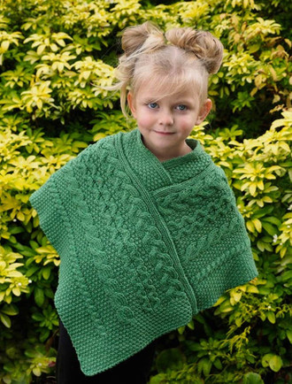 Kids Cable Knit Aran Poncho