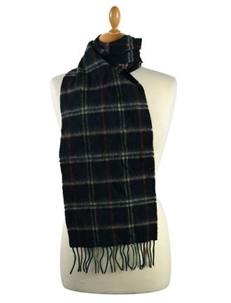 Narrow Lambswool Checked Scarf - Forrest Green