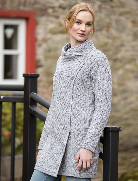 Cable Knit Coatigan with Celtic Knot Side Zip Aran Sweater Market