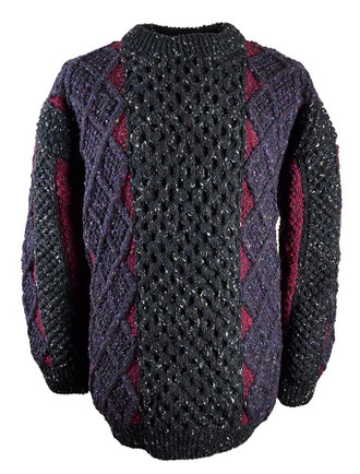 Mens Hand-knit Patchwork Crew