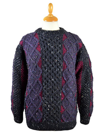 Womens Hand-knit Patchwork Crew