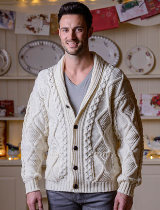 Men's Shawl Neck Cardigan - Merino Wool - White