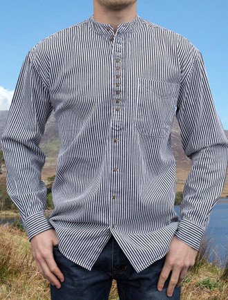 Grandfather Shirt - Blue Stripe