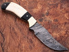 WHITE DEER Clip Point Damascus Steel Hunting Knife Buffalo Horn Handle
