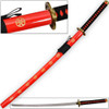 Hachiman Katana of War Japanese Frostbite Sword Tosho Red & Black