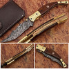 Executive Series Baekelite ENGRAVED Clip-Point Folding Damascus Knife Solid Brass Bolstered