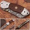 Signature Spay-Point Damascus Steel Folding Knife Micarta Wood Handle Unique Handmade