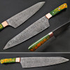 Pacific Rim Santoku Forged Chef Knife Resin Grips Damascus 1095 HC Steel by White Deer