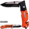 8in TAC Force EMT Hi-Vis Rescue Flashlight Pocket Knife Spring Assisted Folding