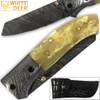 White Deer Spey Point Wharn-Blade Folding Damascus Knife Buffalo Bone Handle