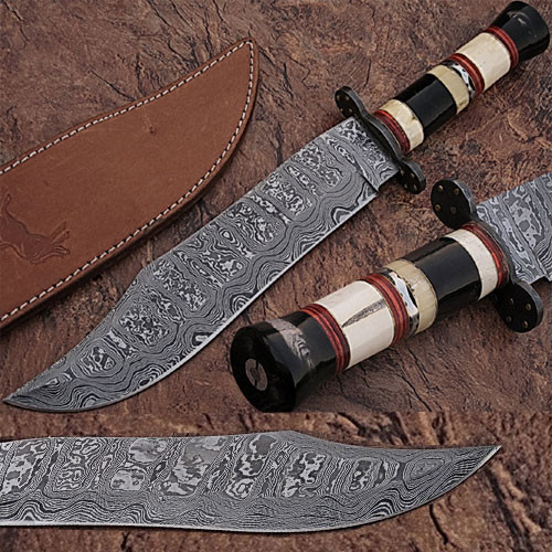 Custom Made Damascus Steel Bowie Knife w/ Buffalo Horn Handle w/