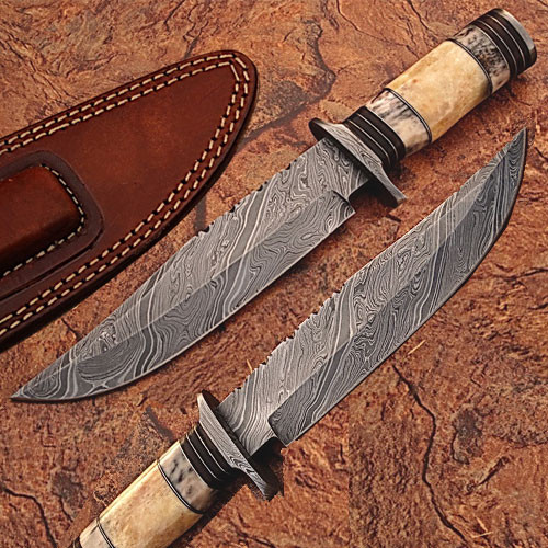 Custom Made Damascus Steel Bowie Knife