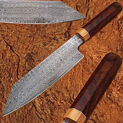 Damascus Steel Chef Knife Rose Wood & Olive Wood Handle