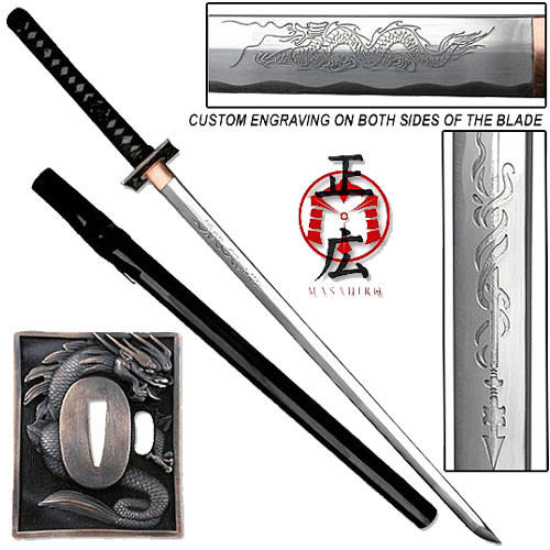 Masahiro - Engraved Dragon Ninja-to Sword Razor Sharp