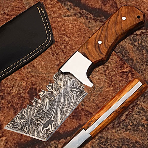 DAMASCUS STEELTRACKER KNIFE TANTO BLADE