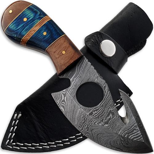 Custom Made Damascus Steel Gut Hook Hunting Skinner Knife
