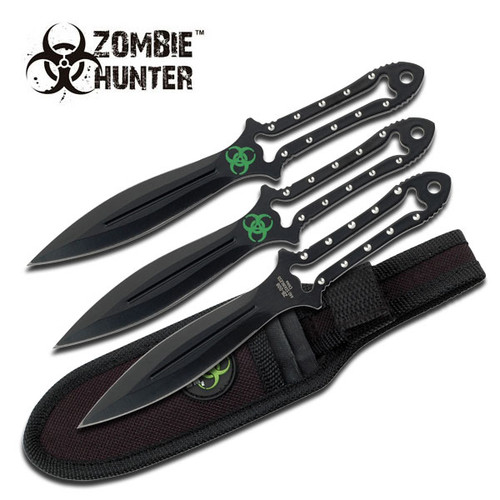 3 Pcs Zombie Killer 7 Inch Overall Throwing Knives Set With Sheath