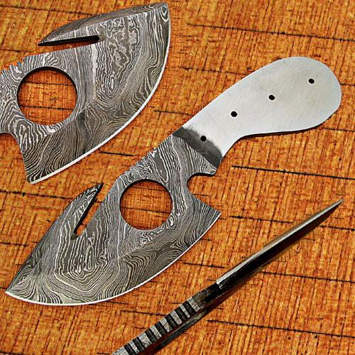 Gut Hook Damascus Skinner Knife Blank