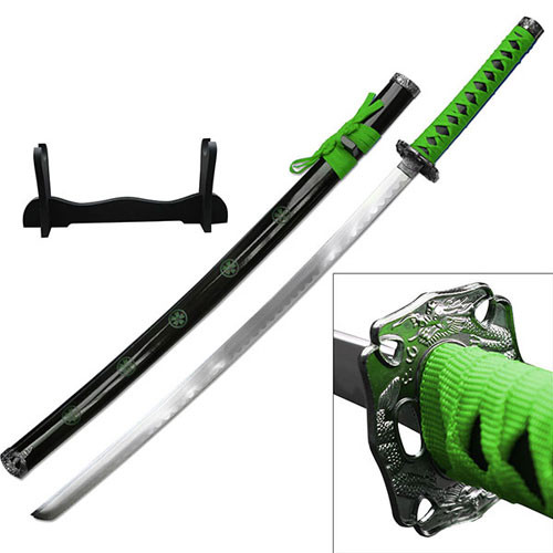SAMURAI KATANAS SWORD GREEN COME W/TABLE STAND