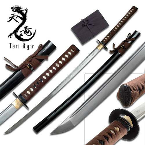 Ten Ryu - Sharp Damascus Steel Katana Sword 1
