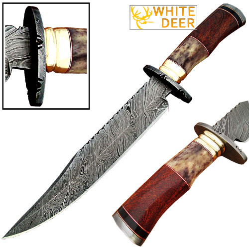 White Deer Damascus Steel Bowie Knife W/Giraffe Bone & Rose Wood Handle