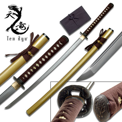 Ten Ryu - Sharp Damascus Steel Katana Sword (Gold Scabbard)