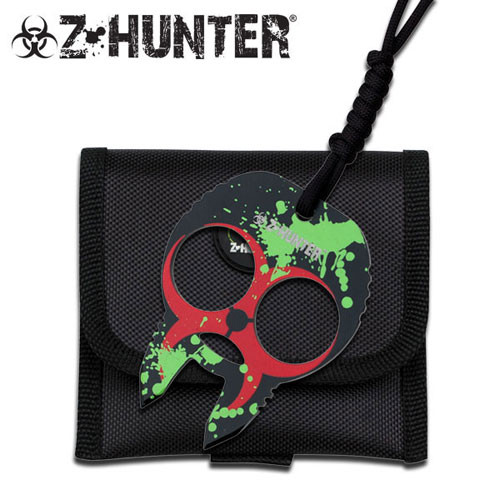 Zombie Hunter Knuckle Buckles - Blue Red with Green Splash