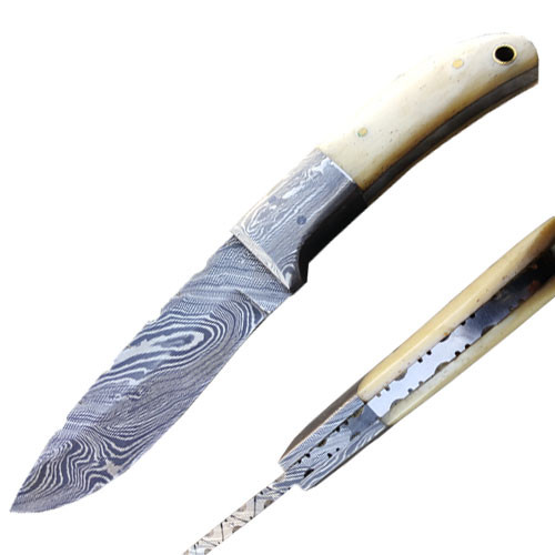 Damascus Hunting Knife (Damascus Bolster & Bone Handle)
