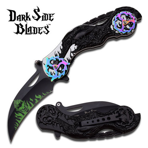 Dark Side Rainbow Spring Assisted Knife