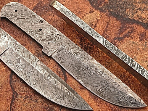 Custom FULL DAMASCUS Steel Knife (Blank Blade) 9.75in 1095 Steel