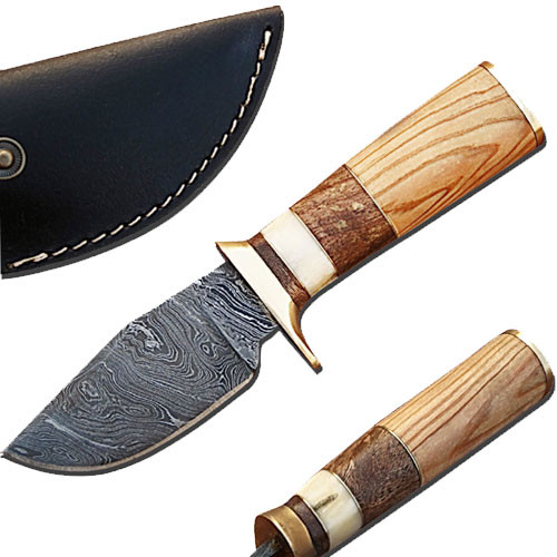 Custom Made Damascus Steel Hunting Knife w/ Olive Wood Handle 1