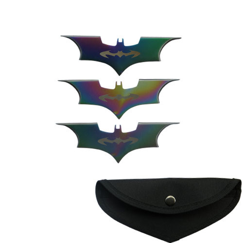 Bat Throwing knife Rainbow Color 3 Pcs Set