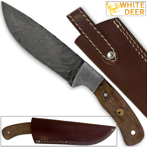 WHITE DEER Hunters Legend Damascus Steel Knife Walnut Wood Handle & Mosaic Pin
