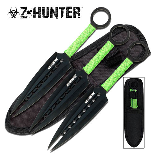 Throwing Knife - Dual Point Kunai Knives w/ Sheath - 3pc Set