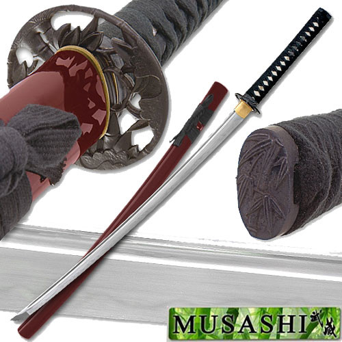 Musashi - 1060 Carbon Steel - Bamboo Warrior Sword - Red Saya